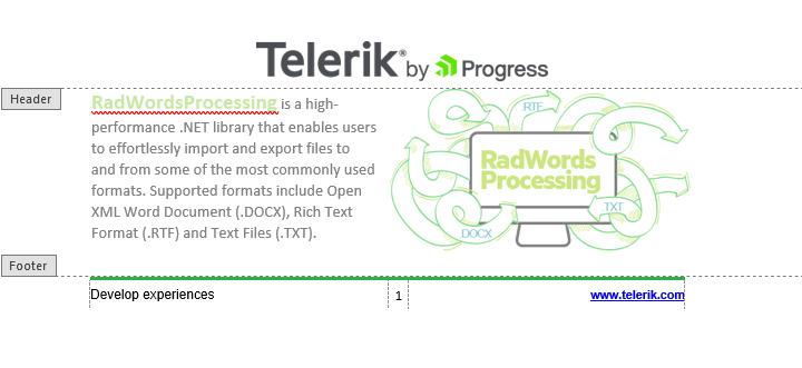 Telerik UI for ASP.NET Core WordsProcessing - Headers and Footers