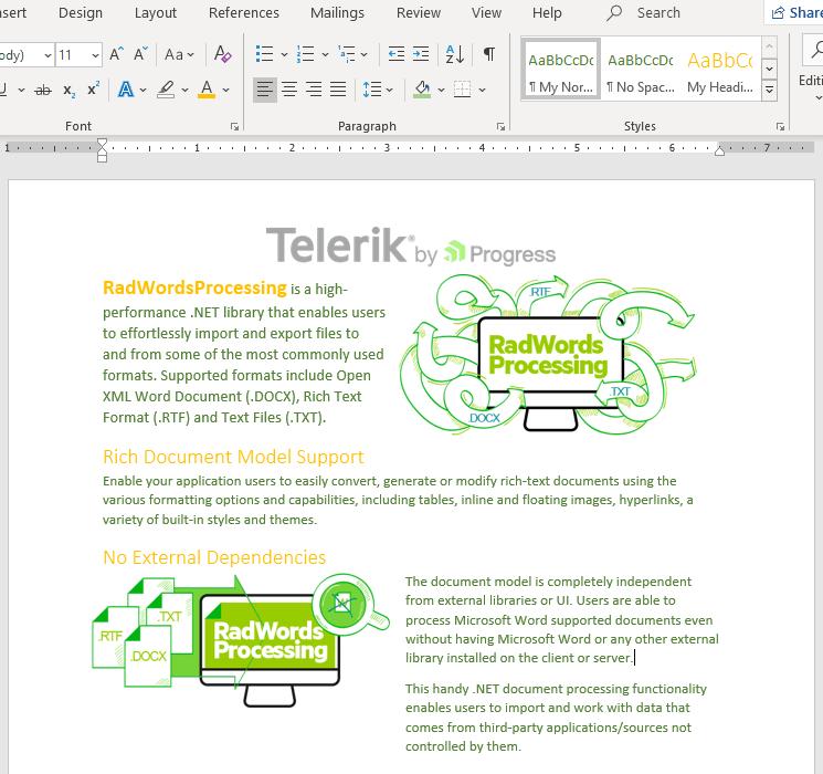 Telerik UI for ASP.NET Core WordsProcessing - Styles