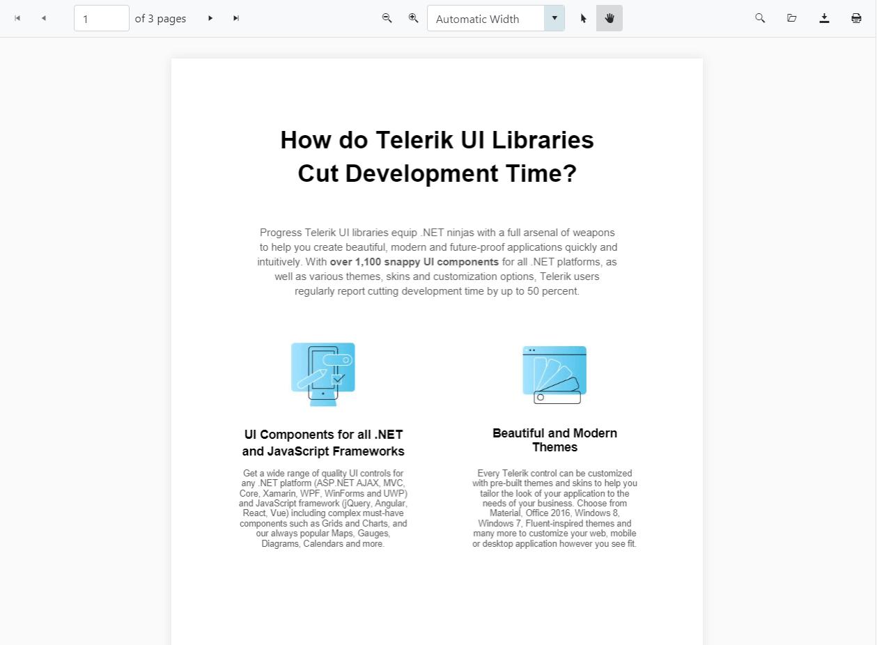 Telerik UI for ASP.NET Core PDF Viewer