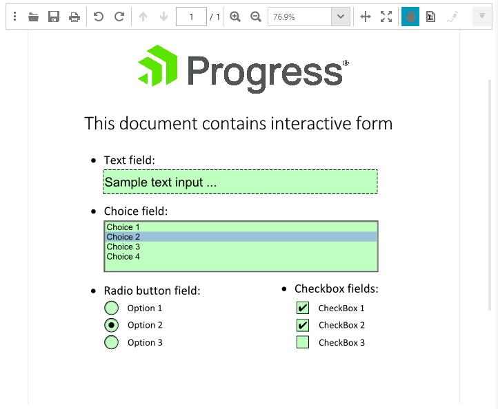 Telerik UI for ASP.NET MVC PdfProcessing - Interactive Forms