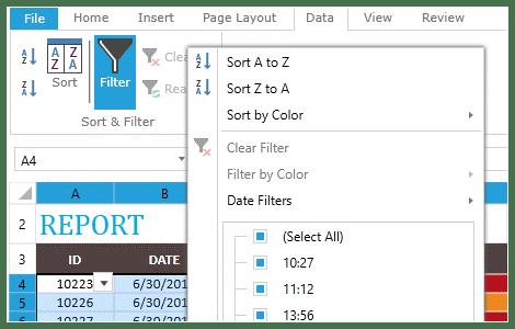 Telerik UI for ASP.NET MVC SpreadProcessing - filtering