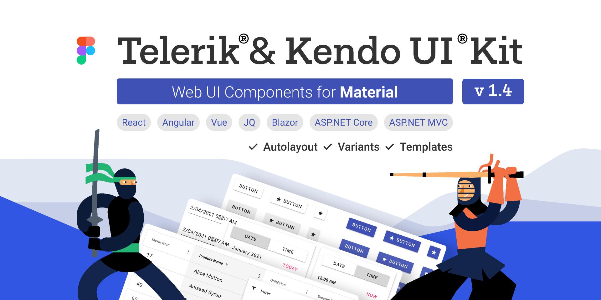 Telerik UI for ASP.NET MVC .NET Web Figma Kits