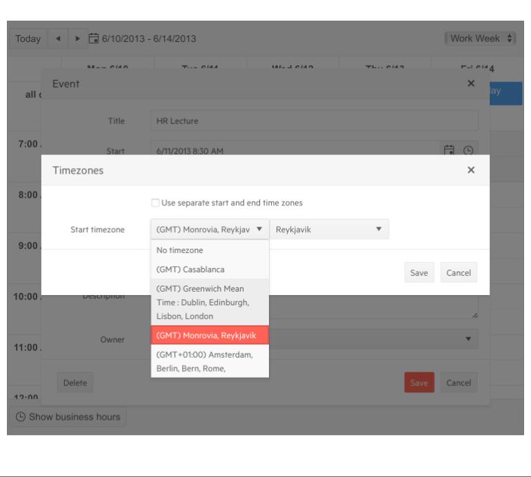 Telerik UI for ASP.NET MVC Scheduler - Time Zones Support