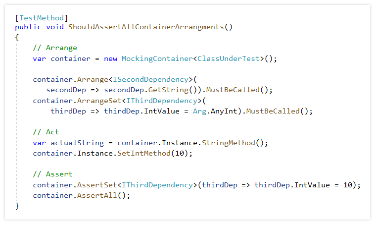 Implement ArrangeSet and AssertSet methods for mocking container