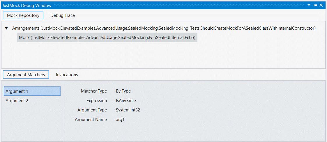 DebugWindow with arrange arguments info, showing two argument matchers