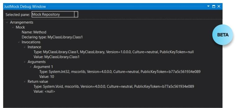 Visual Studio Window for Visualizing Mocked Objects