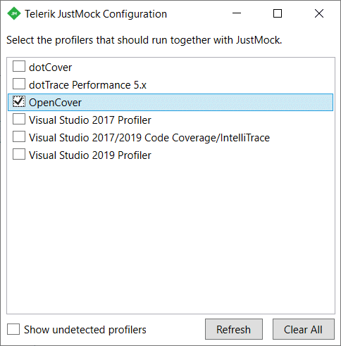 Telerik JustMock Integration with OpenCover