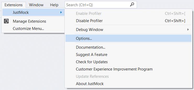 Telerik JustMock extension for Visual Studio