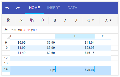 Spreadsheet HTML5 UI widget