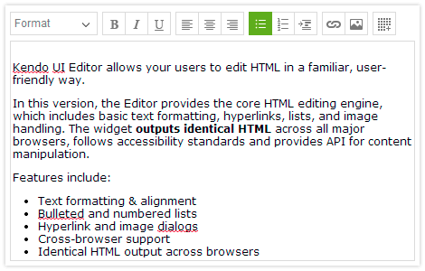 Editor Control - Kendo UI with support for jQuery