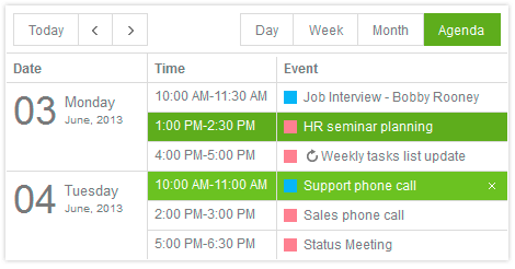 Scheduler Control - Kendo UI with support for jQuery