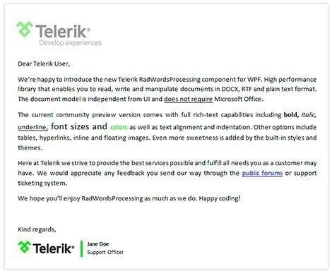 Telerik UI for Blazor WordsProcessing - Rich Document Model