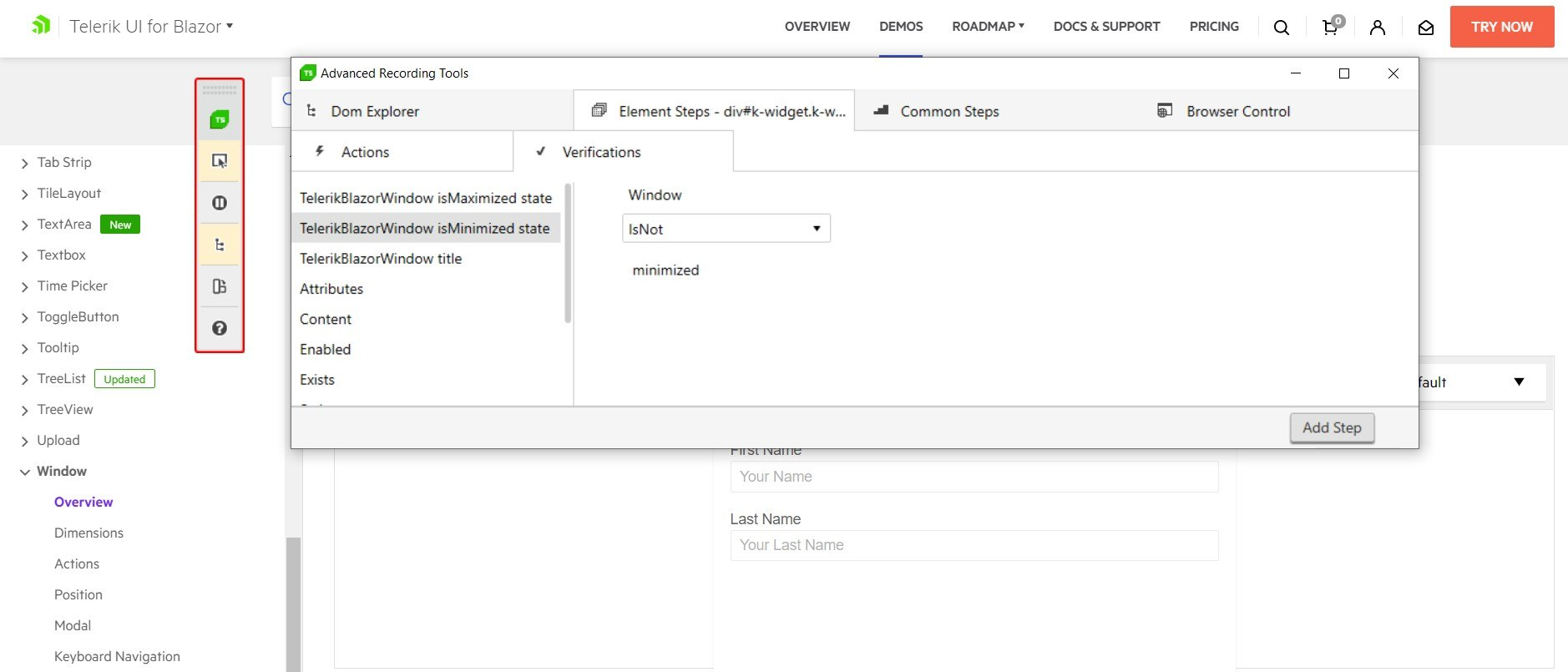 Translator for Telerik UI for Blazor Window - Verify if Minimized