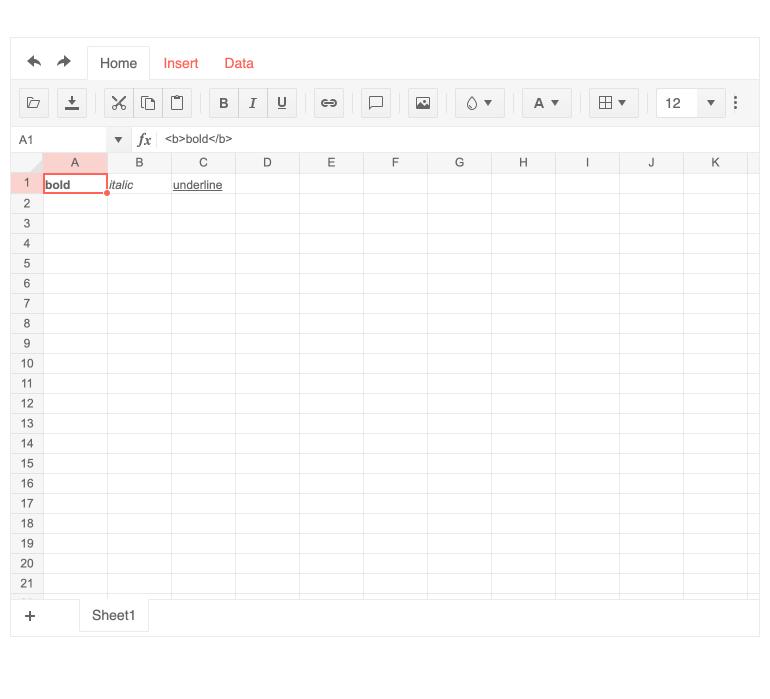 Spreadsheet feature Render cells using custom HTML