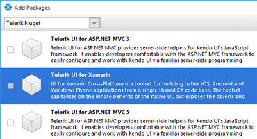 Telerik UI for Xamarin NuGet support main image