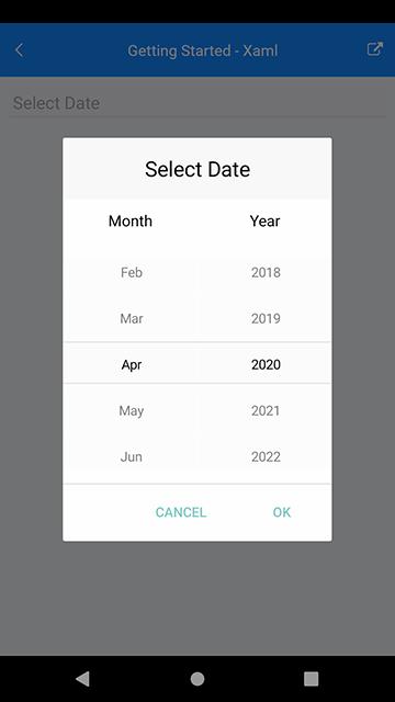 Telerik UI for Xamarin - Spinner options for DatePicker