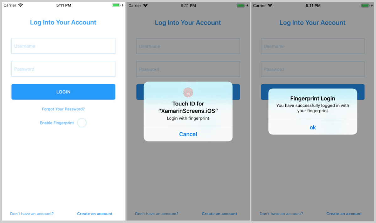 Login Screen With Fingerprint
