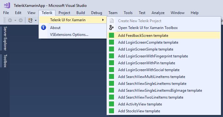 Introducing New Telerik UI for Xamarin Visual Studio Item