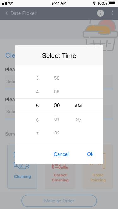 Telerik UI for Xamarin - TimePicker control