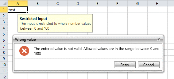 Data Validation WinForms SpreadProcessing Library