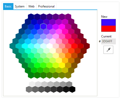 UI for WinForms ColorDialog Basic Palette