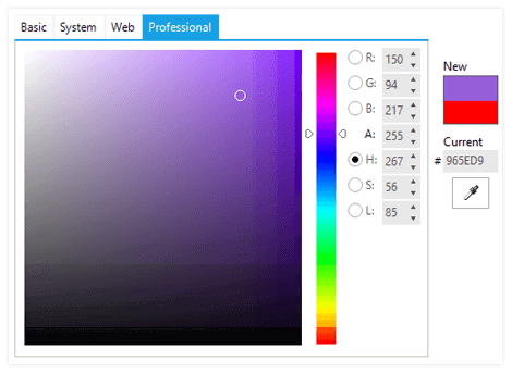UI for WinForms ColorDialog Professional Palette
