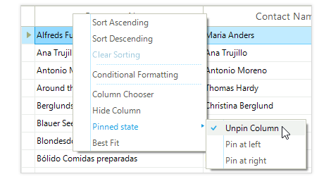 UI for WinForms GridView Context Menu