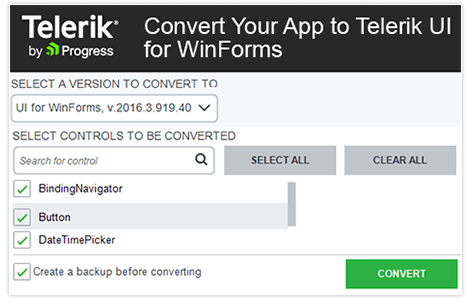 Telerik UI for WinForms Converter Tool Wizard image
