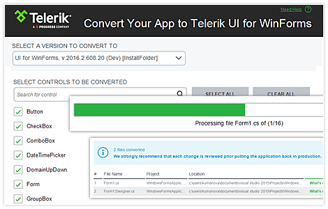 Telerik UI for WinForms Converter Tool image
