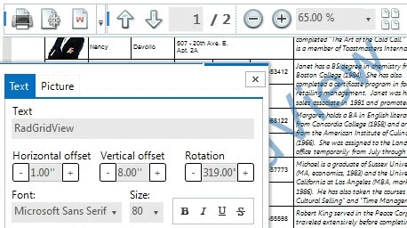 Printing Support for Telerik RadGridView with Watermark - WinForms GridView