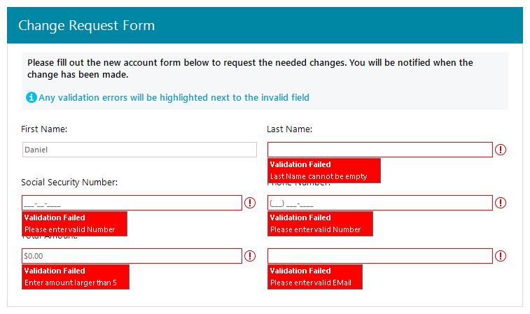 Telerik UI for WinForms - Validation provider