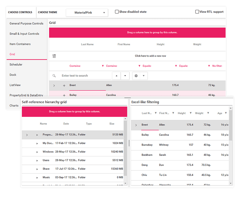 Telerik UI for WinForms Material_Pink Theme Image