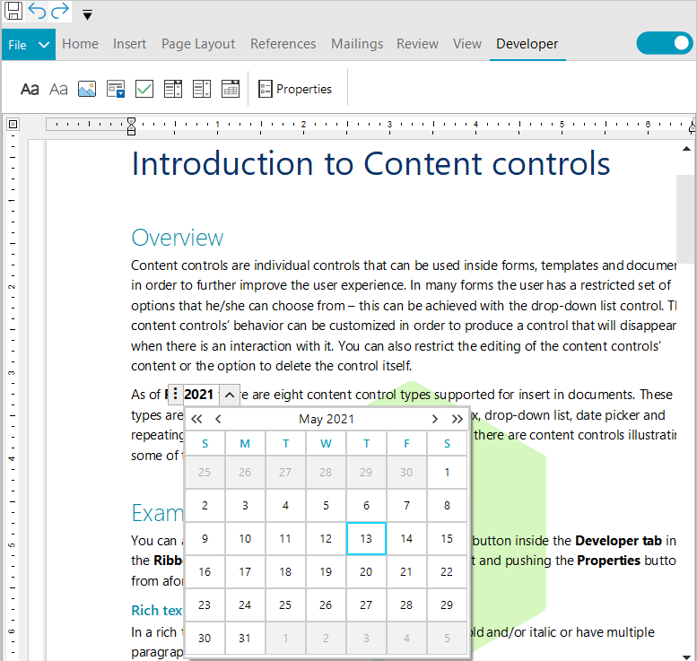 RichTextEditor for WinForms - Support for content controls