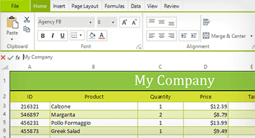 Telerik UI for WinForms Spreadsheet Control Image