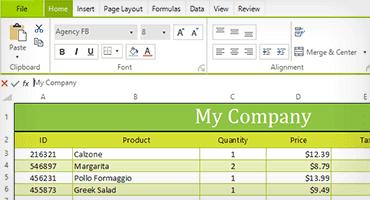 Telerik UI for WinForms Spreadsheet Control Image