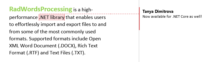 Telerik UI for WinUI WordsProcessing - Comments