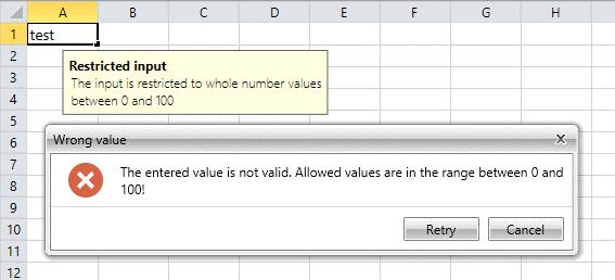Data Validation WinUI SpreadProcessing Library