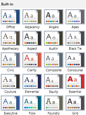 Telerik UI for WinUI WordsProcessing - Document Themes