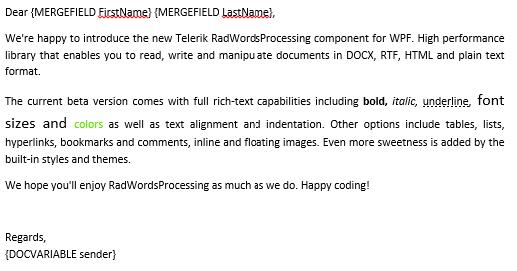 Telerik UI for WinUI WordsProcessing - Mail Merge