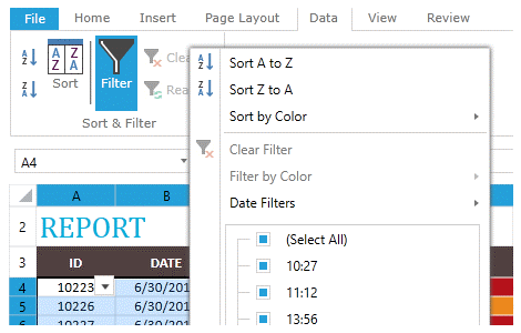 Filtering Support in WPF SpreadProcessing Library