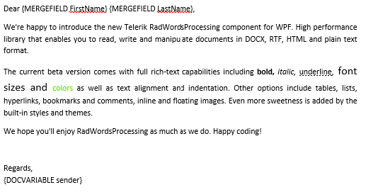 Mail Merge Support in WPF WordsProcessing Library
