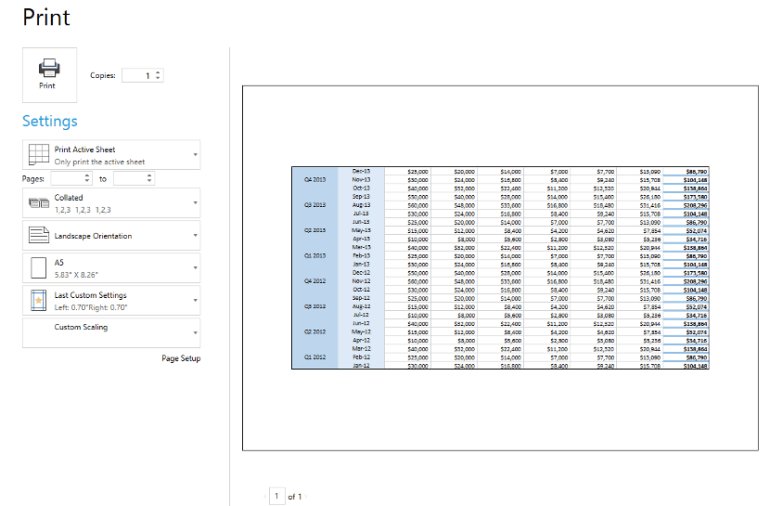 Print Page Setup in  WPF SpreadProcessing Library