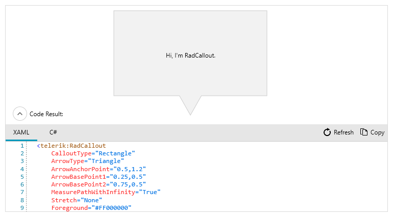 Telerik UI for WPF - callout control in XAML