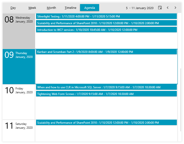 Telerik UI for WPF Schedule View - Agenda View mode