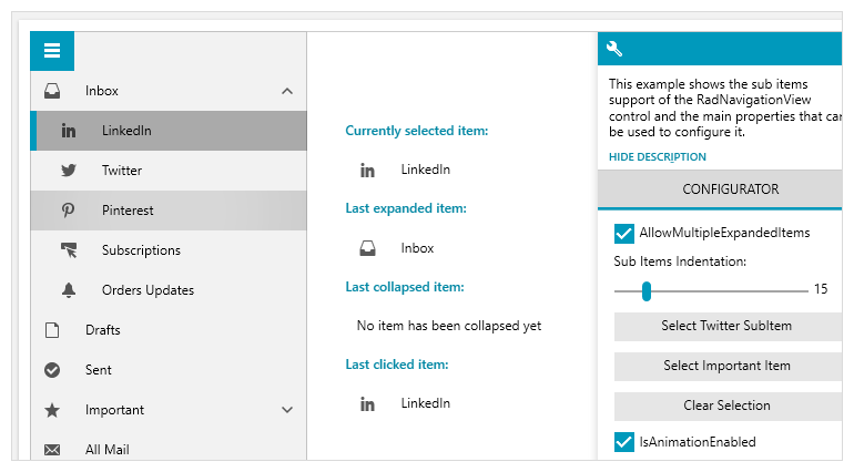 Telerik UI for WPF - Sub-items support for NavigationView