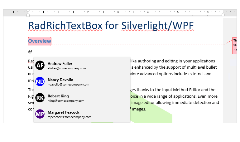 Support for @mentions in Telerik UI for WPF RichTextBox