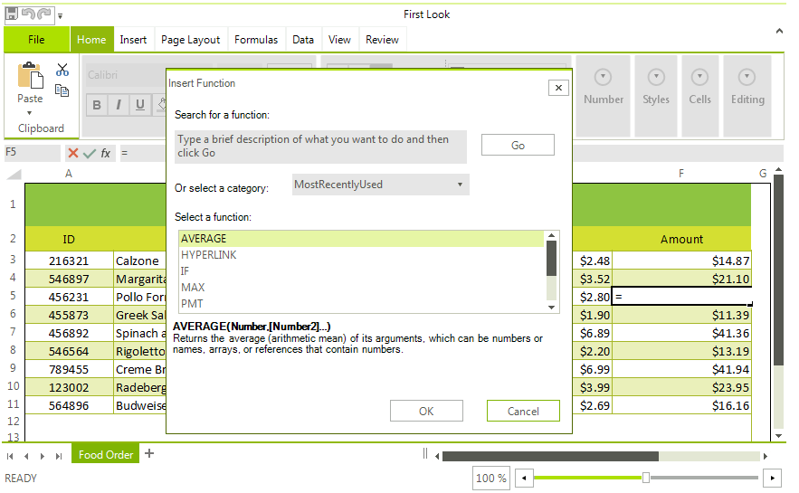 Telerik UI for WinForms Spreadsheet Formulas Image
