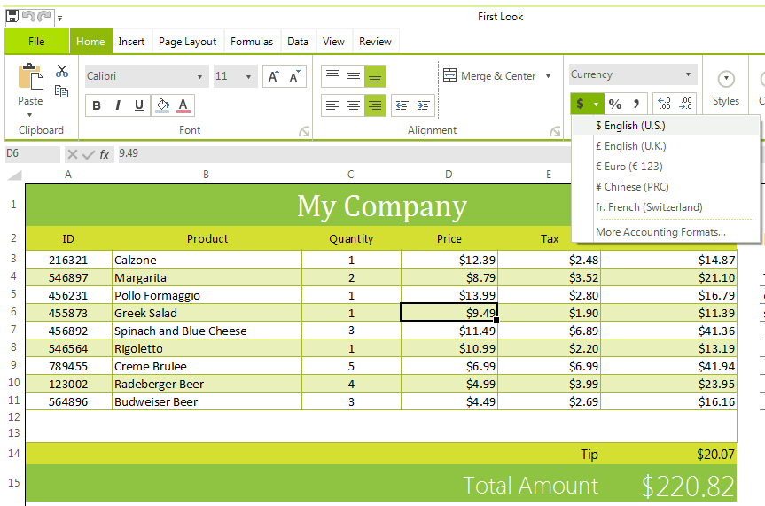 Telerik UI for WinForms Spreadsheet Data Formats Image