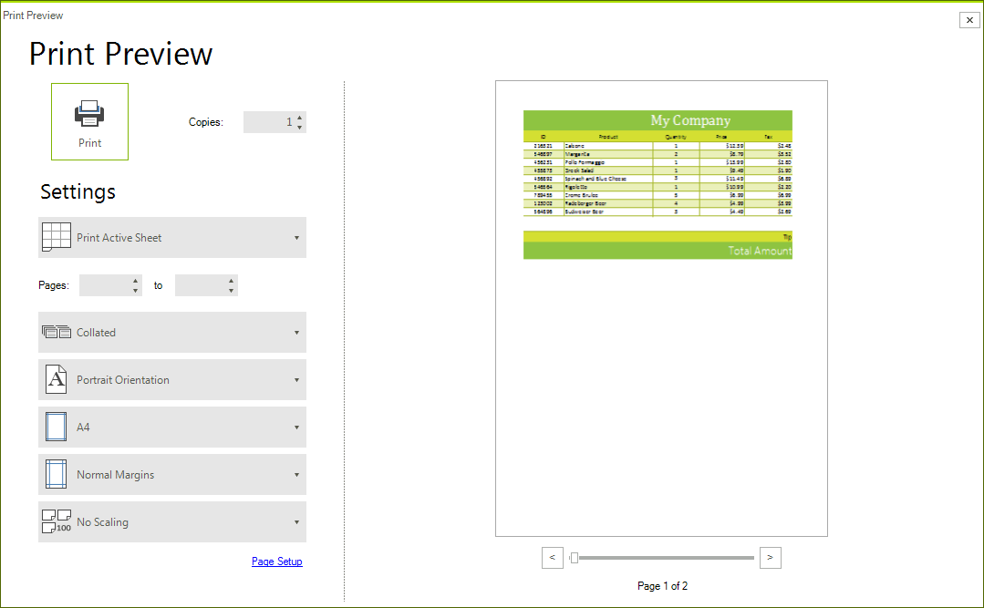 Telerik UI for WinForms Spreadsheet Printing Image