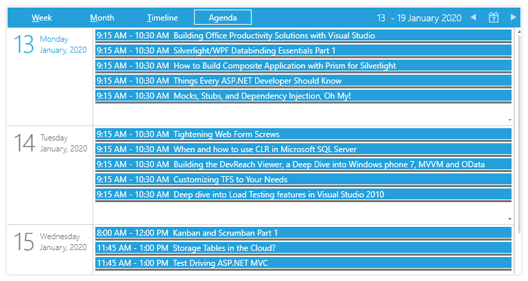 Silverlight Agenda View mode